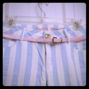 Denim - Blue/white stripe jeans w/ pink belt US size 6